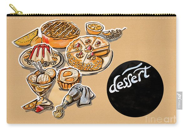 Kitchen Illustration Of Menu Of Desserts  Carry-all Pouch