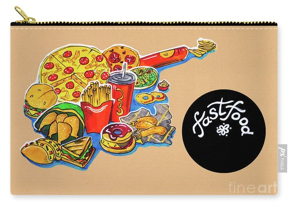 Kitchen Illustration Of Menu Of Fast Food  Carry-all Pouch