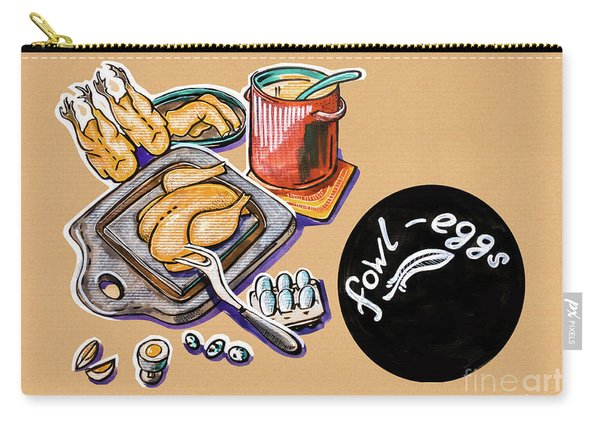 Kitchen Illustration Of Menu Of Fowl  Products  Carry-all Pouch