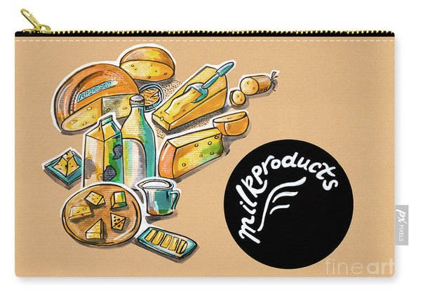 Kitchen Illustration Of Menu Of Milk Products  Carry-all Pouch