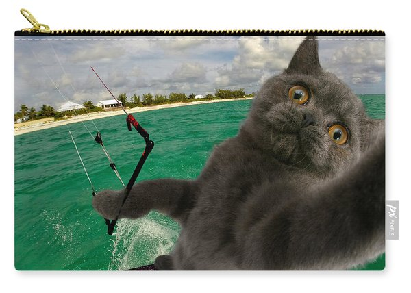 Kite Surfing Cat Selfie Carry-all Pouch