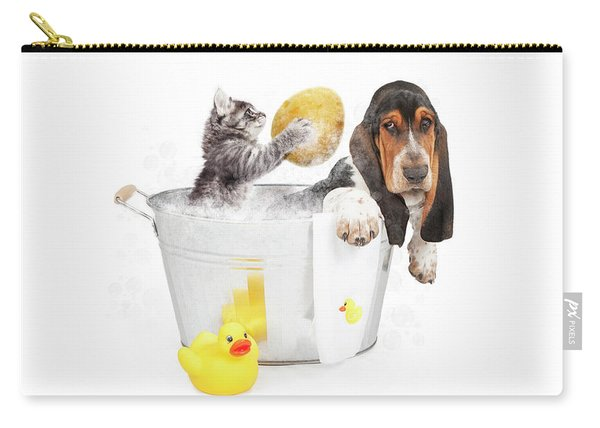 Kitten Washing Basset Hound In Tub Carry-all Pouch