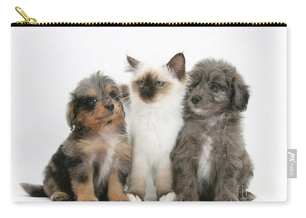 Kitten With Puppies Carry-all Pouch
