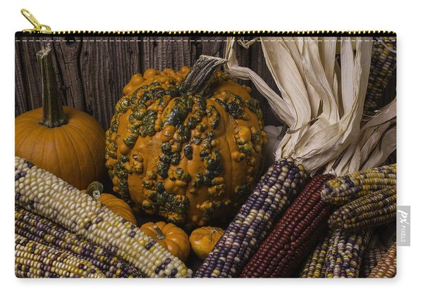 Knuklehead Pumpkin And Indian Corn Carry-all Pouch