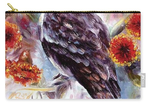 Carry-all Pouch featuring the painting Kookaburra In Red Flowering Gum by Ryn Shell