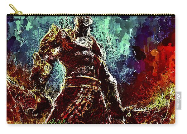 Carry-all Pouch featuring the mixed media Kratos by Al Matra