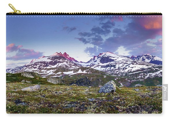 Carry-all Pouch featuring the photograph Crimson Peaks by Dmytro Korol