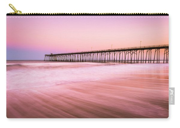 Carry-all Pouch featuring the photograph Kure Beach Fishing Pier At Sunset by Ranjay Mitra