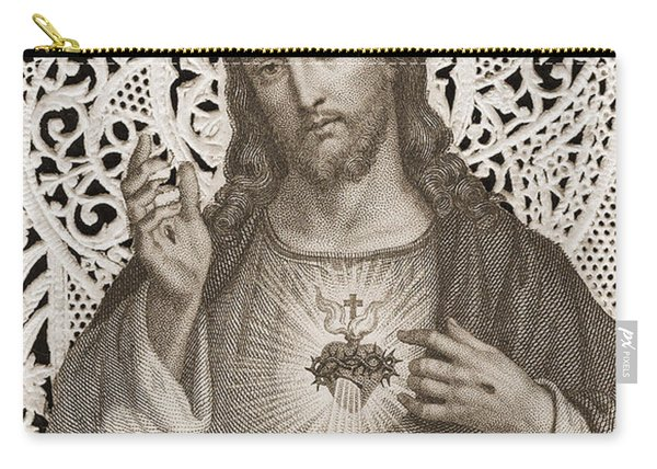 Lace Card Depicting The Sacred Heart Of Jesus Carry-all Pouch