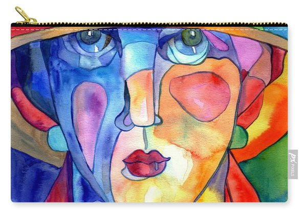 Lady In Hat Watercolor Carry-all Pouch