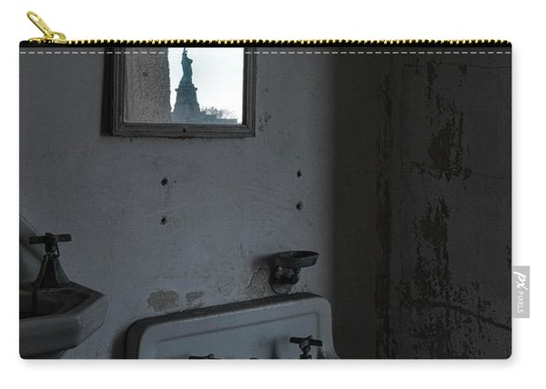 Carry-all Pouch featuring the photograph Lady Liberty In The Mirror by Tom Singleton