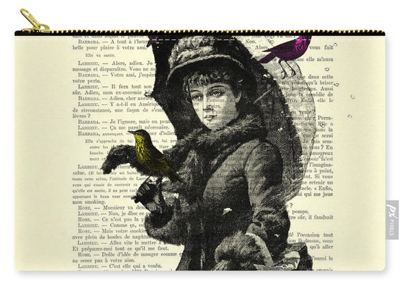 Lady With Umbrella In Winter Landscape Print On Old Book Page Carry-all Pouch