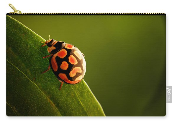 Ladybug  On Green Leaf Carry-all Pouch