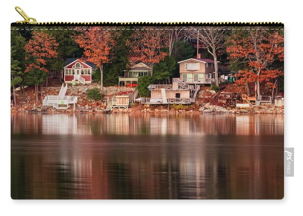 Carry-all Pouch featuring the photograph Lake Cottages Reflections by Tom Singleton