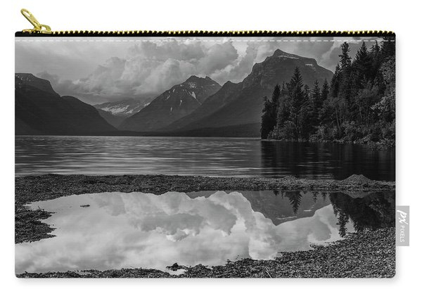 Lake Mcdonald Sunset In Black And White Carry-all Pouch