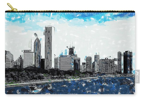 Lake Michigan And The Chicago Skyline Carry-all Pouch
