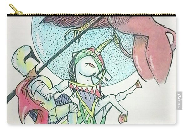 Carry-all Pouch featuring the drawing Lancelot And Griffin  by Loretta Nash