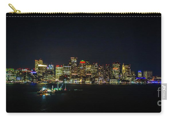 Large Panoramic Of Downtown Boston At Night Carry-all Pouch
