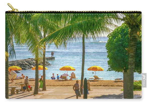 Late Afternoon At The Beach Digital Watercolor Carry-all Pouch