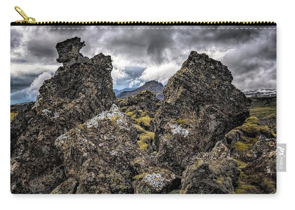 Carry-all Pouch featuring the photograph Lava Rock And Clouds by Tom Singleton