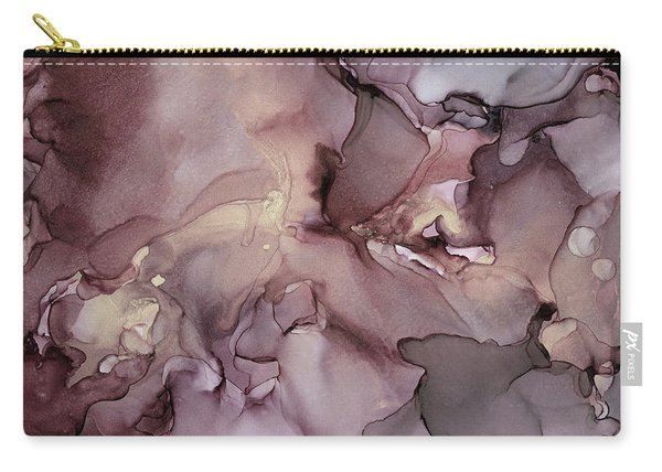 Lavender Gold Swirls Ink Abstract Painting Carry-all Pouch