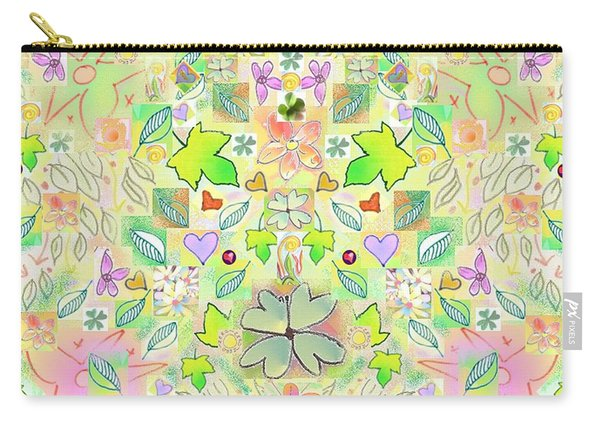 Leaf And Flower And Heart Pattern  Carry-all Pouch