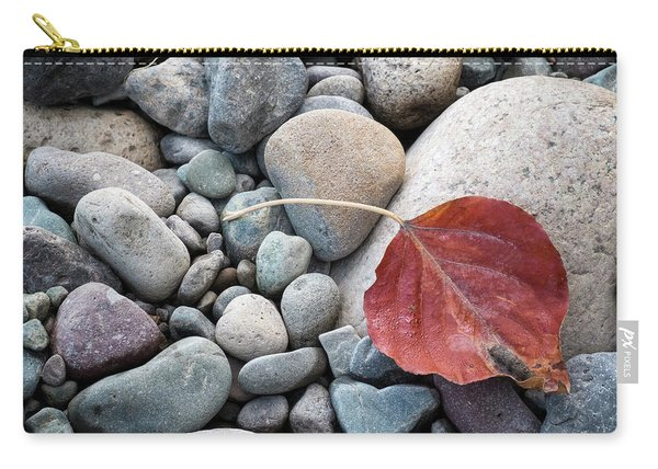 Carry-all Pouch featuring the photograph Leaf On River Rocks by Mary Lee Dereske