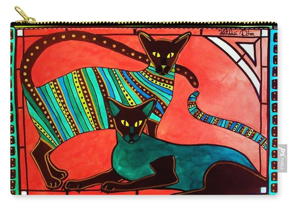 Legend Of The Siamese - Cat Art By Dora Hathazi Mendes Carry-all Pouch