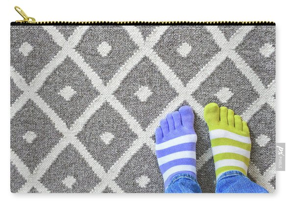 Legs In Mismatched Socks On Gray Carpet Carry-all Pouch