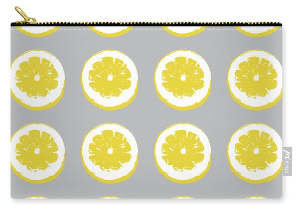 Lemon Slices On Grey- Art By Linda Woods Carry-all Pouch