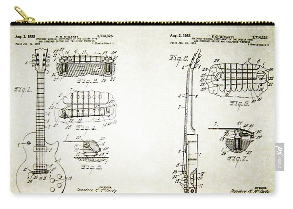 Les Paul Guitar Patent 1955 Carry-all Pouch