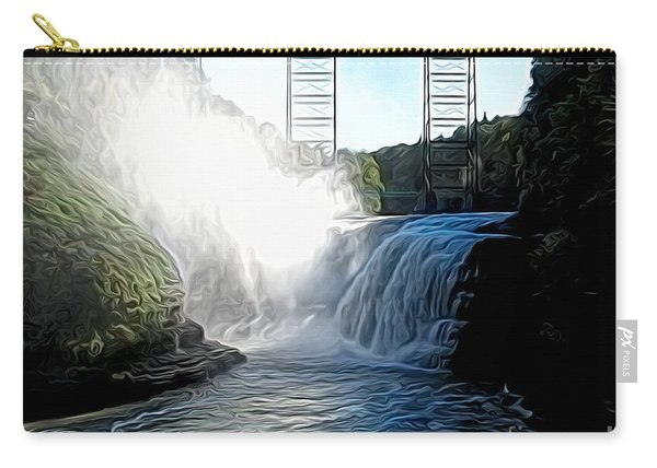 Letchworth State Park Upper Falls And Railroad Trestle Abstract Carry-all Pouch