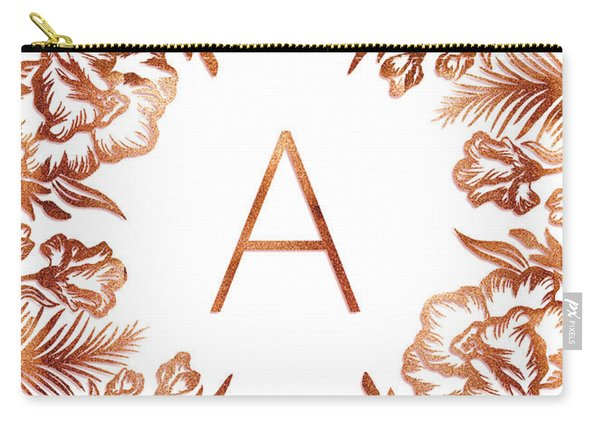 Letter A - Rose Gold Glitter Flowers Carry-all Pouch