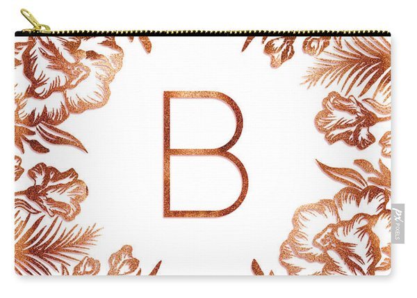 Letter B - Rose Gold Glitter Flowers Carry-all Pouch