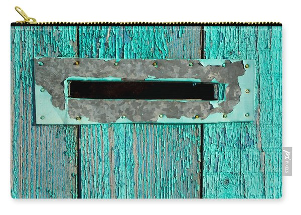 Letter Box On Blue Wood Carry-all Pouch