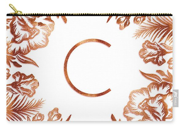 Letter C - Rose Gold Glitter Flowers Carry-all Pouch
