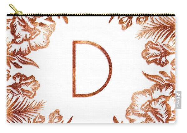 Letter D - Rose Gold Glitter Flowers Carry-all Pouch