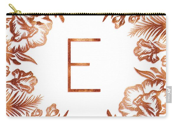Letter E - Rose Gold Glitter Flowers Carry-all Pouch