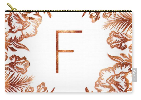 Letter F - Rose Gold Glitter Flowers Carry-all Pouch