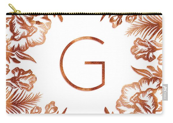 Letter G - Rose Gold Glitter Flowers Carry-all Pouch