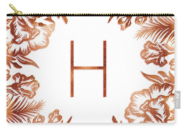Letter H - Rose Gold Glitter Flowers Carry-all Pouch