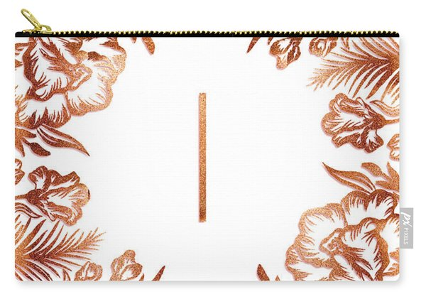 Letter I - Rose Gold Glitter Flowers Carry-all Pouch