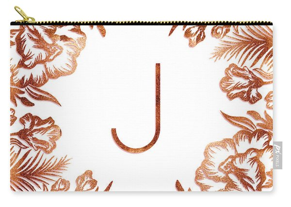 Letter J - Rose Gold Glitter Flowers Carry-all Pouch