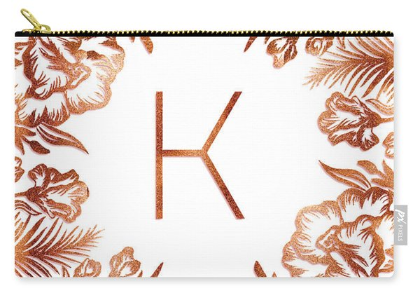 Letter K - Rose Gold Glitter Flowers Carry-all Pouch