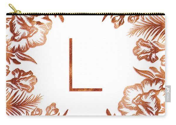 Letter L - Rose Gold Glitter Flowers Carry-all Pouch