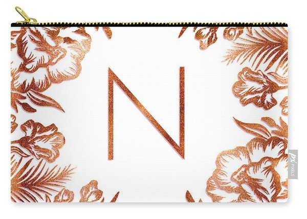 Letter N - Rose Gold Glitter Flowers Carry-all Pouch