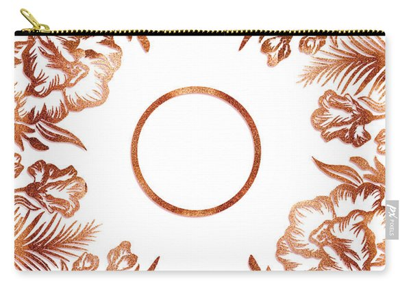 Letter O - Rose Gold Glitter Flowers Carry-all Pouch