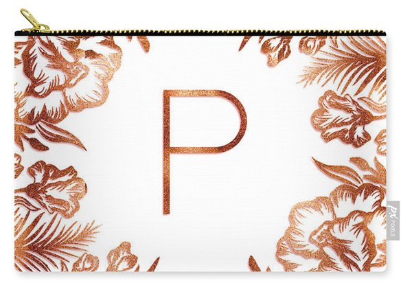 Letter P - Rose Gold Glitter Flowers Carry-all Pouch