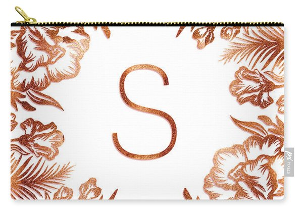 Letter S - Rose Gold Glitter Flowers Carry-all Pouch