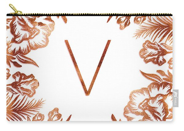 Letter V - Rose Gold Glitter Flowers Carry-all Pouch